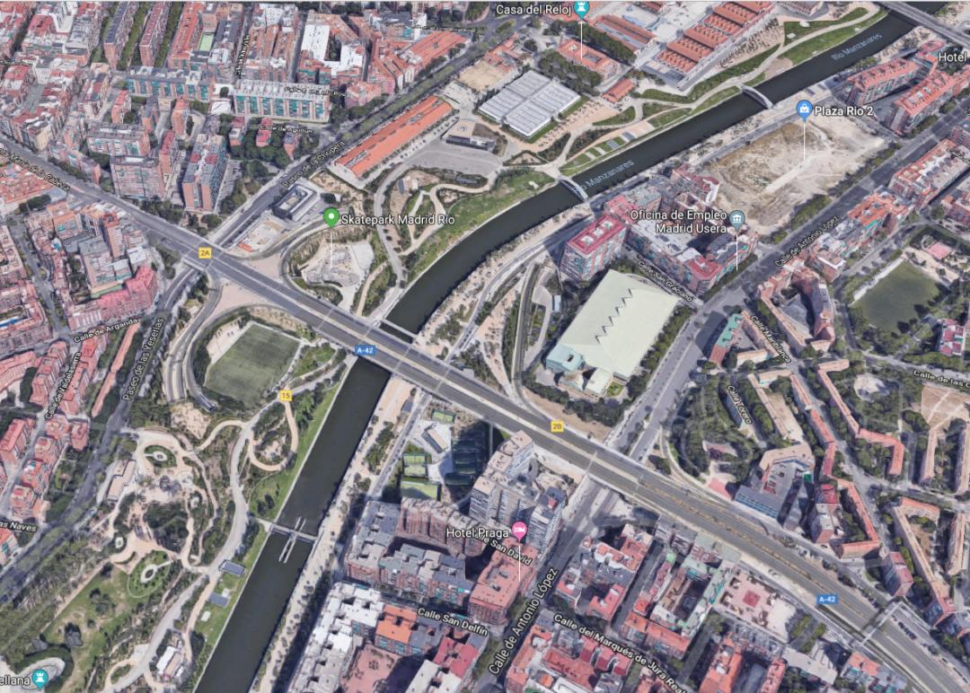 Vista aérea Madrid Río